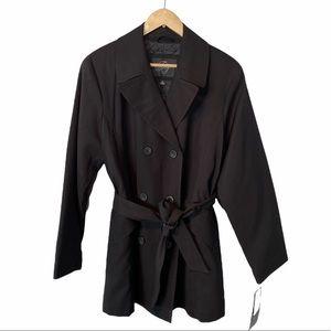 Fleet Street black quilted short trench coat Medium NWT